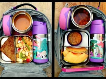 Lunch with side items in LunchBots containers - 100 Days of Real Food