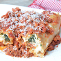 Stuffed Spinach & Sausage Pasta Rolls on 100 Days of Real Food