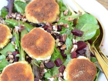 Warm Breaded Goat Cheese & Beet Salad with an Orange Dressing on 100 Days of Real Food