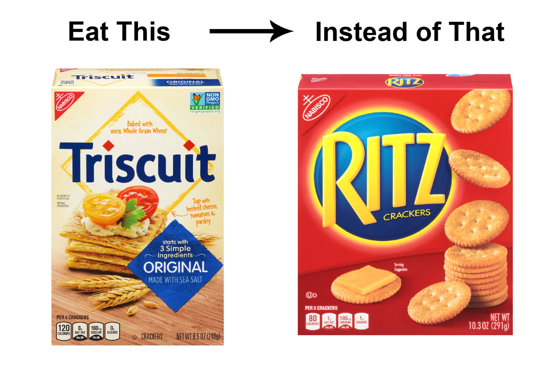 Whole Grain Crackers instead of Refined Crackers (such as Ritz)
