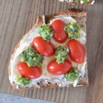 Tomato and Pesto Cheese Toast on 100 Days of Real Food